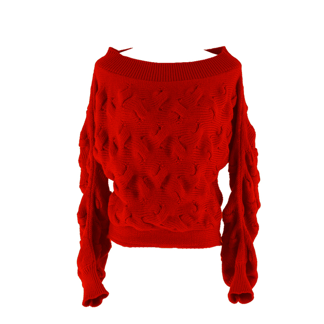 14f2308e6c2ea6 Fall Winter Women Long Balloon Sleeve Cable knitted Sweater Crop Top Red  Off Shoulder Jumper 2019 Streetwear Female Bat Pullover