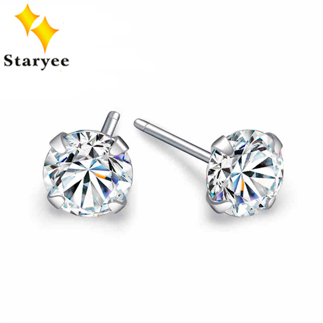 Genuine 18K Solid White Gold Moissanite Stud Earrings For Women Engagement Round Brilliant 0.6 CT A Pair VVS G H Free Shipping