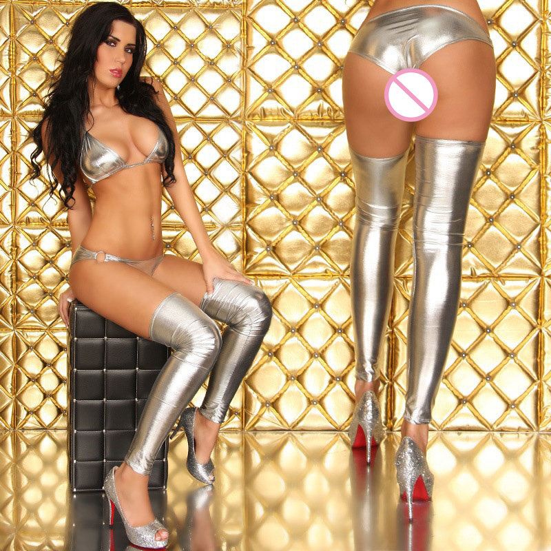 4a066b6aab Top Sales Women Sexy Black Stockings Wetlook Stocking Thigh High Legging  Latex Glam Rock Costume Gothic