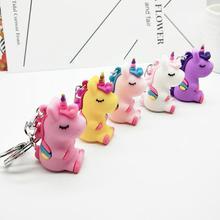 New PVC unicorn Car Key Chain men and women bag hang pendant cute Ring Pop ornament