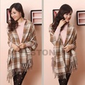 7 Colors Women Wool Tassels Plaid Checks Winter Warm Long Soft Scarf Shawl Wrap-J117