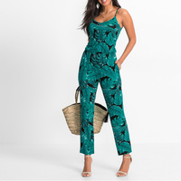 Green Leaf Printed Summer Beach Rompers Backless Women Jumpsuits Tight Long Pants Sexy V Neck Bandage
