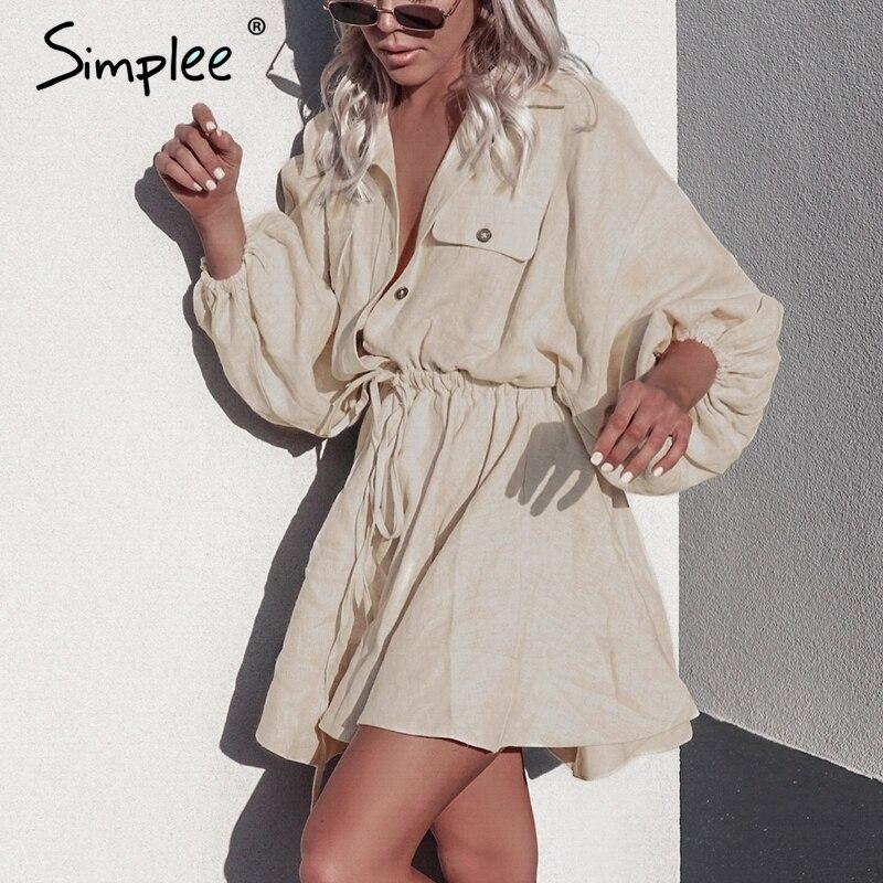 Simplee повседневное льняное платье-рубашка женское с длинным рукавом на пуговицах хлопок vetidos на шнуровке женское платье vestidos винтажные летни...