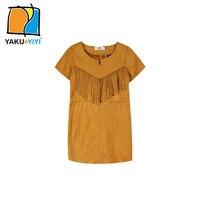 Yakuyiyi nuevo verano vestidos de las muchachas de oro de estilo occidental con cuello en v fringe vestido de niña niños niños ropa