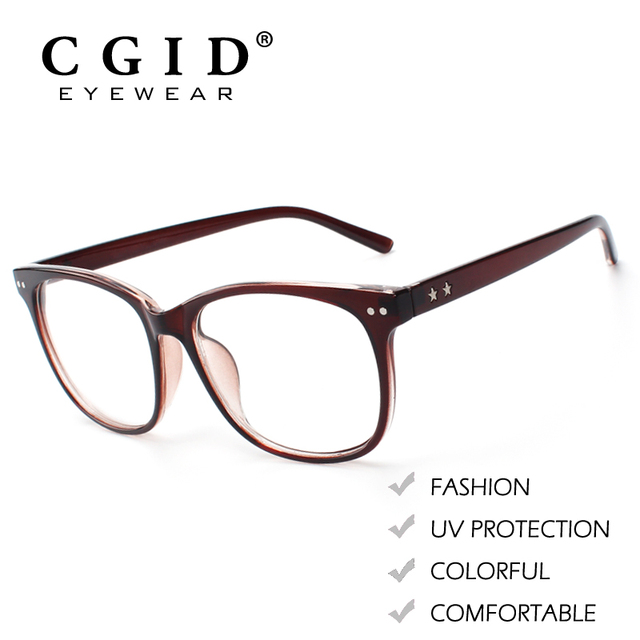 CGID Fashion Style Eyeglasses Oversized Bold Frame Metal Horn Rimmed with  100%UV Protection Clear