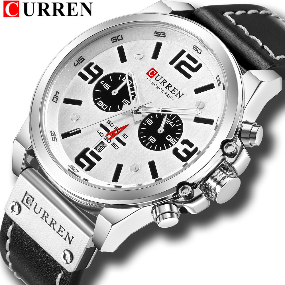 Fashion Classic Black White Chronograph Watch Men CURREN 2018 Men's Watches Casual Quartz Wristwatch Male Clock Reloj Hombre