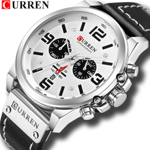 Fashion Classic Black White Chronograph Watch Men CURREN 201