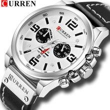 Moda klasik siyah beyaz kronograf saat erkekler CURREN 2018 erkek saatler rahat kuvars kol saati erkek saati Reloj Hombre