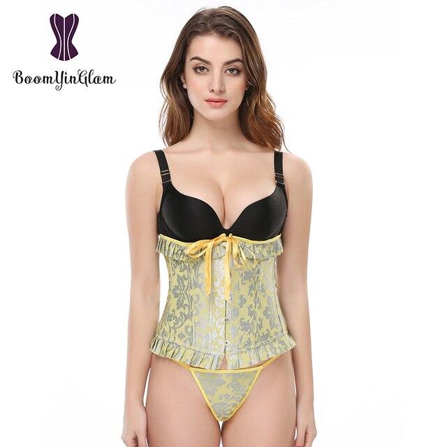 2838 # preço de atacado arco babados cintura cinchers 14 aço desossado corsets corselet underbust para mulheres tamanho S-2XL