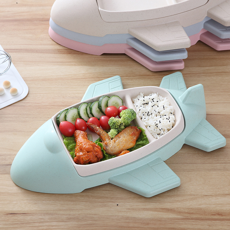 Environmental Separable Plate Childrens Plate Car Train Plane Cartoon Bamboo Fiber Tableware Heat Insulation Bowl Suit