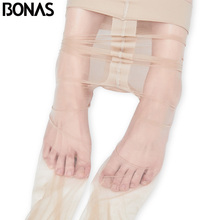BONAS 40D Big Size T Crotch Women Tights Suitable 100kg Lady Nylons Pantyhose Sexy Skin Color Slim Summer Fashion