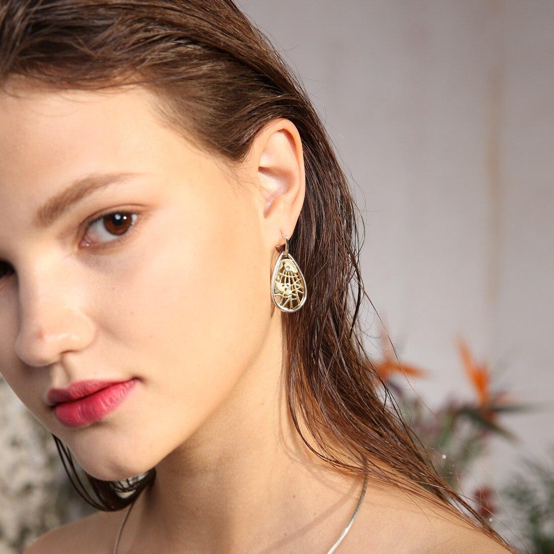 925 Sterling Silver 14K Yellow Gold Plated Round Drop Earrings for Woman 925 Silver Map Earrings Stud Earrings Ear Jewelry 2019