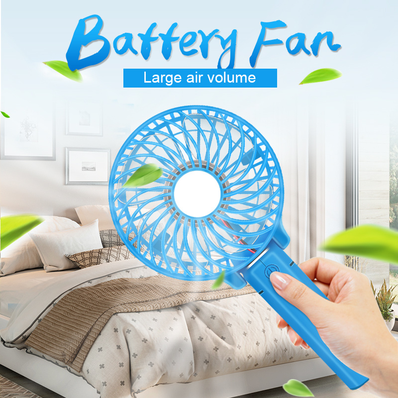 Hearty Free_on Unique Led Love Pattern Handheld Mini Fan Super Mute Battery Operated For Cooling Cute Bright In Colour Home Appliances Fans