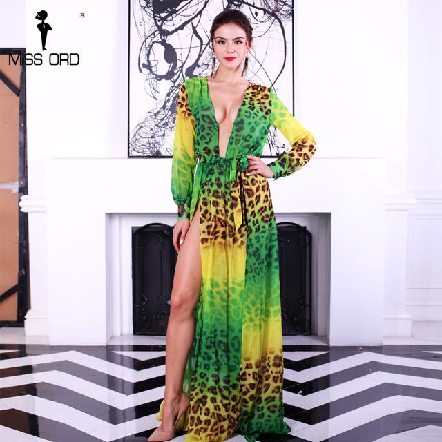 Missord 2017 Sexy V-neck Long Sleeve split printing dress beach dress FT2294-2