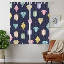 Blackout Curtains 2 Panels Grommet for Bedroom Colorful Diamonds Polygonal Geometric Pattern