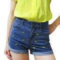 Мода женщин Корейской лето банан цветок вышивка хлопок керлинг плюс размер случайные шорты