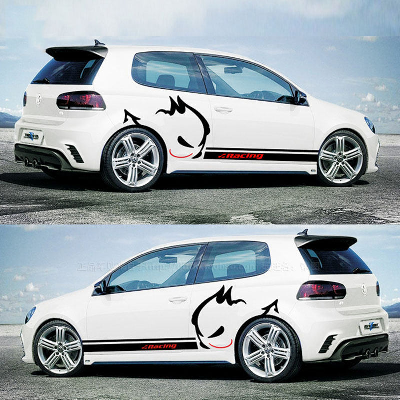 2pcs/lot  Car styling Evil Rabbit Car whole body Sticker Racing Car Stickers and Decals for VW POLO/GOLF 7 car body sticker for cars for fiat 500 dynamic grid waist custom car stickers and decals car styling auto accessories 2pcs