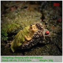 Everyday Collection Resin Miniature Fairy Garden Gnome Hedgehog Sleep with Leaf Figurine Lovely Animals Terrarium Decor