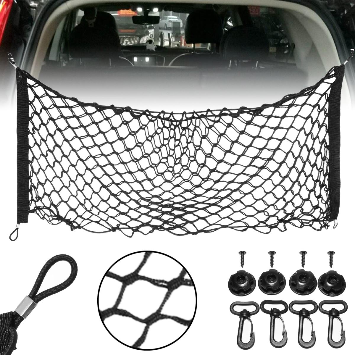 Car Trunk Nets 90x40 cm Elastic Strong Nylon Cargo Luggage Storage Organizer Net Mesh With Hooks For Car Pickup SUV