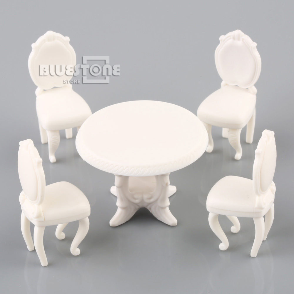 1:25 G Scale Model Building Round Dining Table & 4 Chairs Scene Set Miniature Furniture Decoration