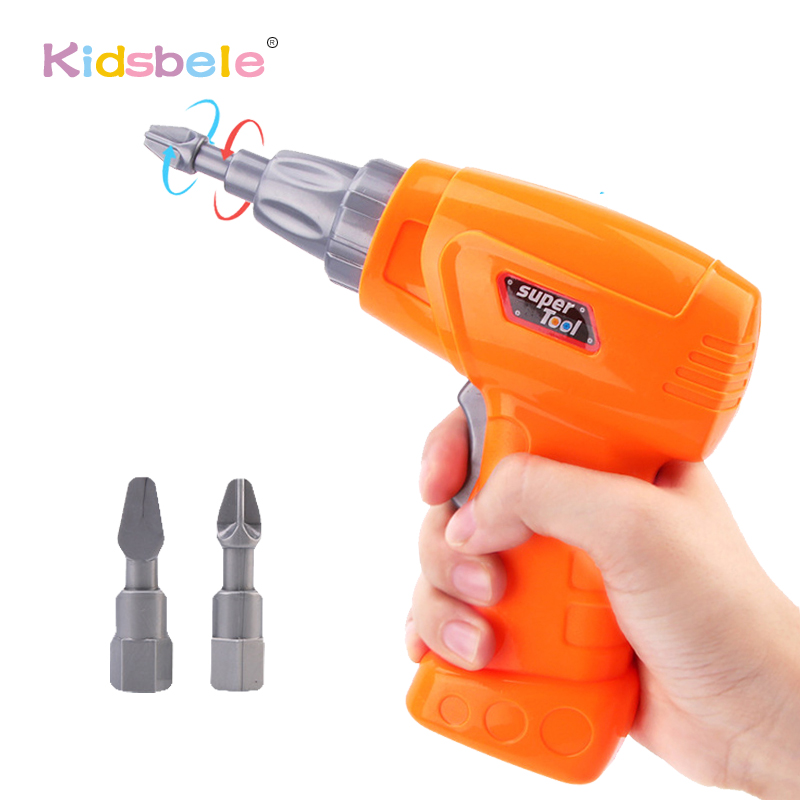 Kids Plastic Simulation Maintenance Tool Electric Toy Drill Education Toy For Boy Disassembled Car Assembled Block Tool Set