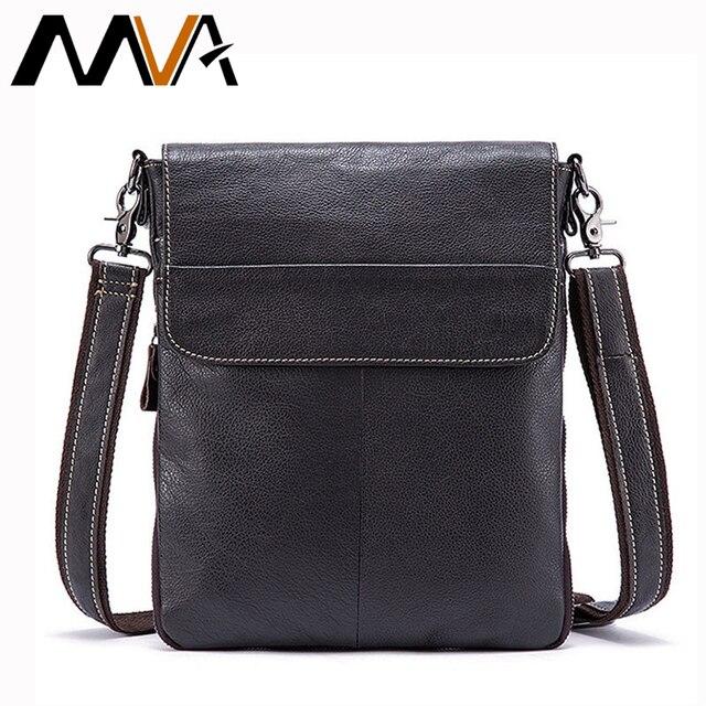 MVA Genuine Leather Men Bag Male Shoulder Crossbody Bags Brand Ipaid Men Messenger Bags Handbag Men's Leather Bag Male Flap