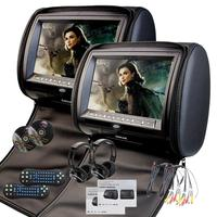 EinCar Black 2 X Twin Car headrest DVD player 9 inch HD Touch key with FM 32 Bits Games MP3 Pair of monitors Dual Screen Pill