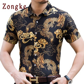 Zongke Summer Hawaiian Shirt Men Cotton Short Sleeve Hawaiian Mens Shirt Chinese Dragon Shirts Regular Fit 2018 Chemise short sleeve red blouse