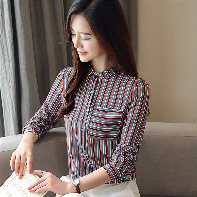 ... New Spring Fashion Long Sleeved Blouses Plus Size Casual Women Tops  Simple Women Clothing Striped Blouses. -34%. Click to enlarge 0f8855e5f5ff