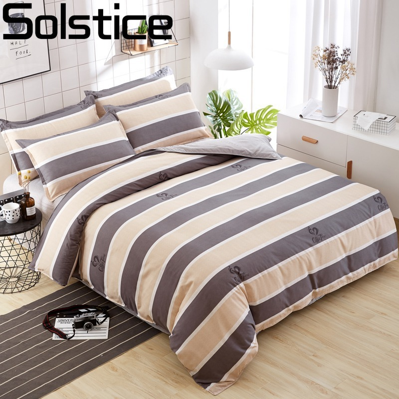 Solstice Fashion Colour Mix og Match Cotton Bedding Sæt Sengark Dyne Cover Pudebetræk 4 stk Kombination Bed Cover Sengetøj