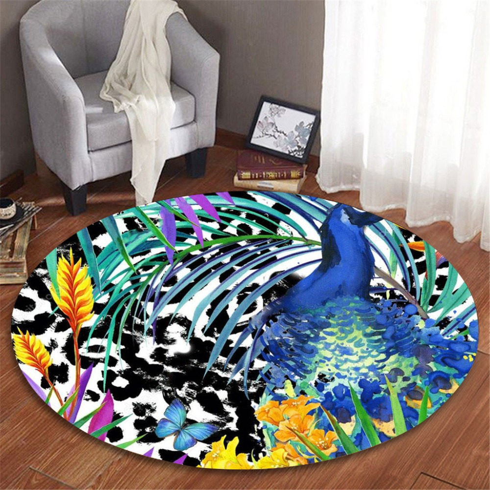 3d Rainforest Series Tropical Plant Leaves Pattern Printing Round Flannel Bathroom Kitchen Carpet 100cm Fluffy Rug Art Bird Orders Are Welcome. Home