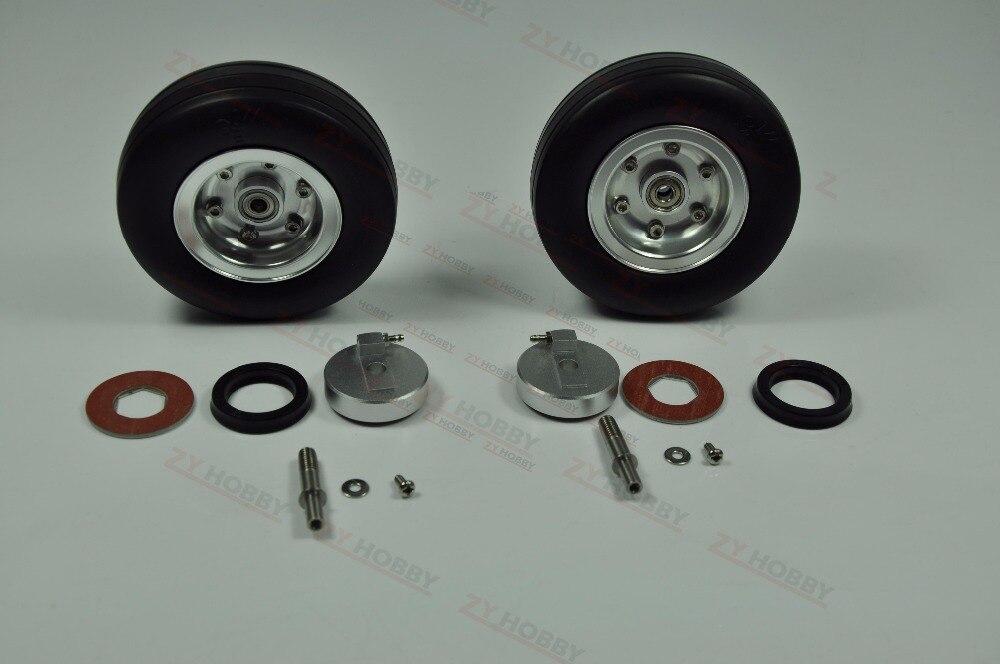 2 قطع 3.5 بوصة العجلات مع الفرامل المطاط الإطارات المطاطية ل نموذج الطائرات-في قطع غيار وملحقات من الألعاب والهوايات على  مجموعة 1