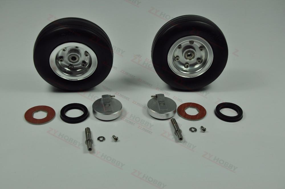 2 sztuk 3.5 cali gumowe koło z hamulcem gumowa opona do model samolotu w Części i akcesoria od Zabawki i hobby na  Grupa 1