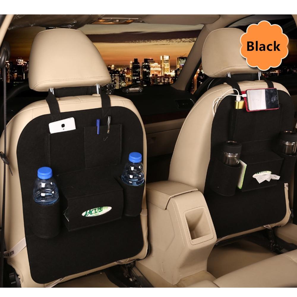 Multi-Pocket Black Car Seat Back Felt Organizer Pocket Travel Storage Bag HOT XNC