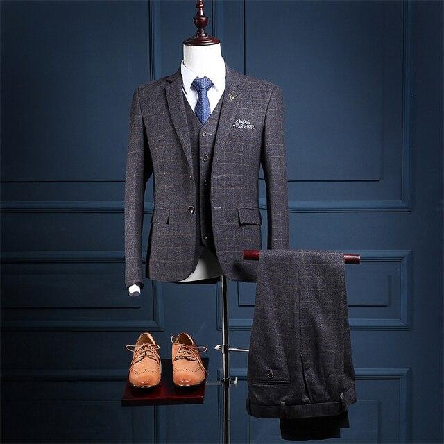 2018 Grey Damier Check Fabrics Wedding Suit Business Suit Groom ...