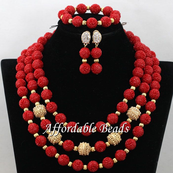 Red Nigerian Wedding Coral Jewelry Sets New African Coral Beads Handmade Style CN194Red Nigerian Wedding Coral Jewelry Sets New African Coral Beads Handmade Style CN194