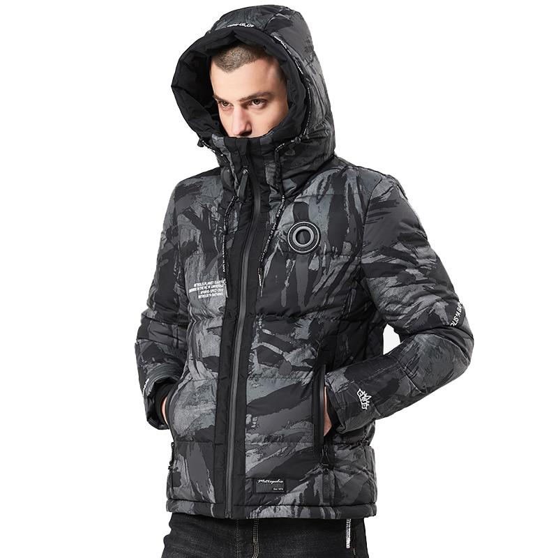 Camouflage Men Winter Jacket Thick Warm Hooded Parka Windbreaker Streetwear Camo Casual Mens Winter Coats