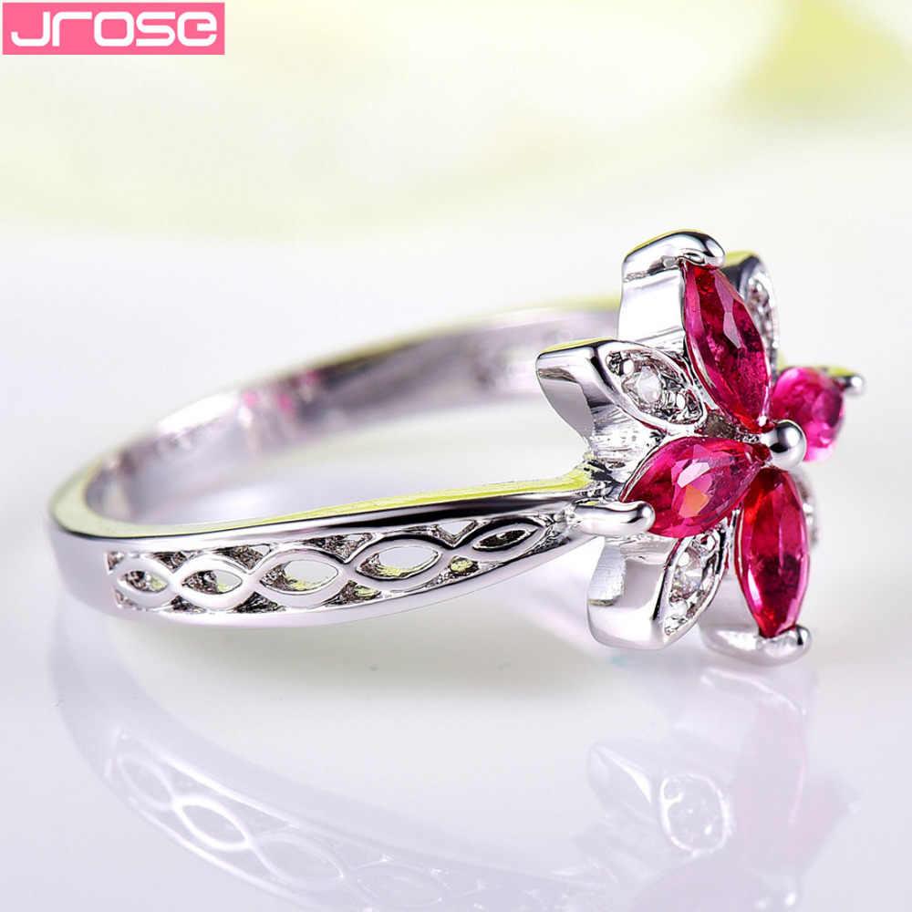 JROSE ขายส่งสวยดอกไม้สีแดงและสีขาวเพชร CZ สีขาวขนาดแหวน 6 7 8 9 10 11 12 13 แต่งงานผู้หญิงเครื่องประดับ