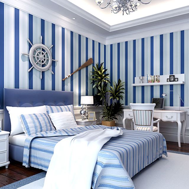 Mediterranean Blue And White Vertical Striped Wallpaper Non Woven Flocking Wallpapers For Boys Living