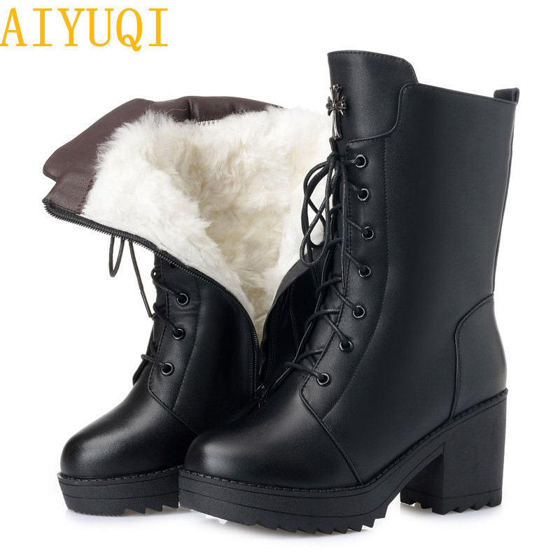 AIYUQI Women boots 2019 new genuine leather women military boots size 35 42 platform female winter
