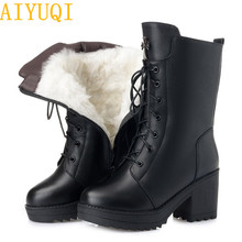 AIYUQI Women boots 2019 new genuine leather women military size 35-42 platform female winter  wool snow