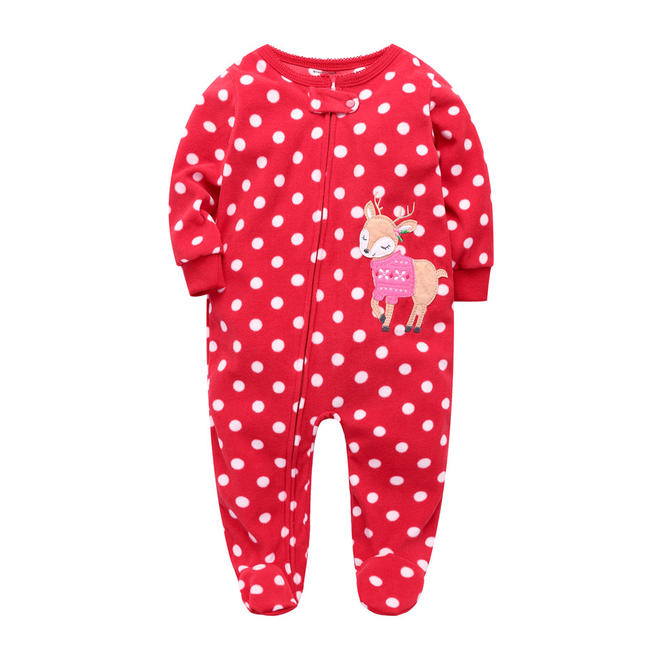 Christmas 2018 baby girl clothing ,fleece baby jumpsuits infant Pajamas , for newborn -24M baby romper brand baby costumes