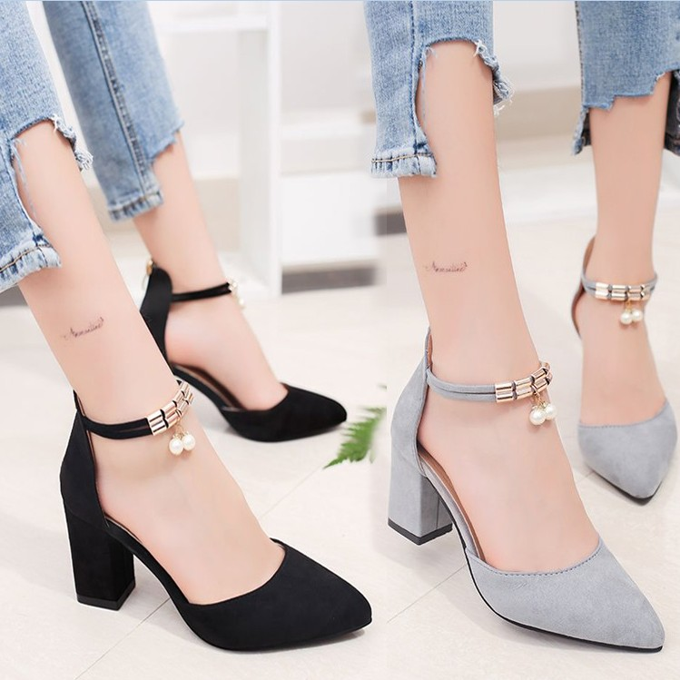 Concise Elegant Pointed High Heels Fashion Comfort Thick With Womens Shoes Black Suede Single Shoes Professional Work Shoes