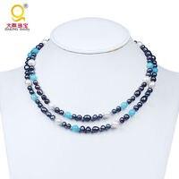 Moda nuova venuta bianco e grigio collana di perle collana di perline di pietra blu collana di pietra perla collana dei monili