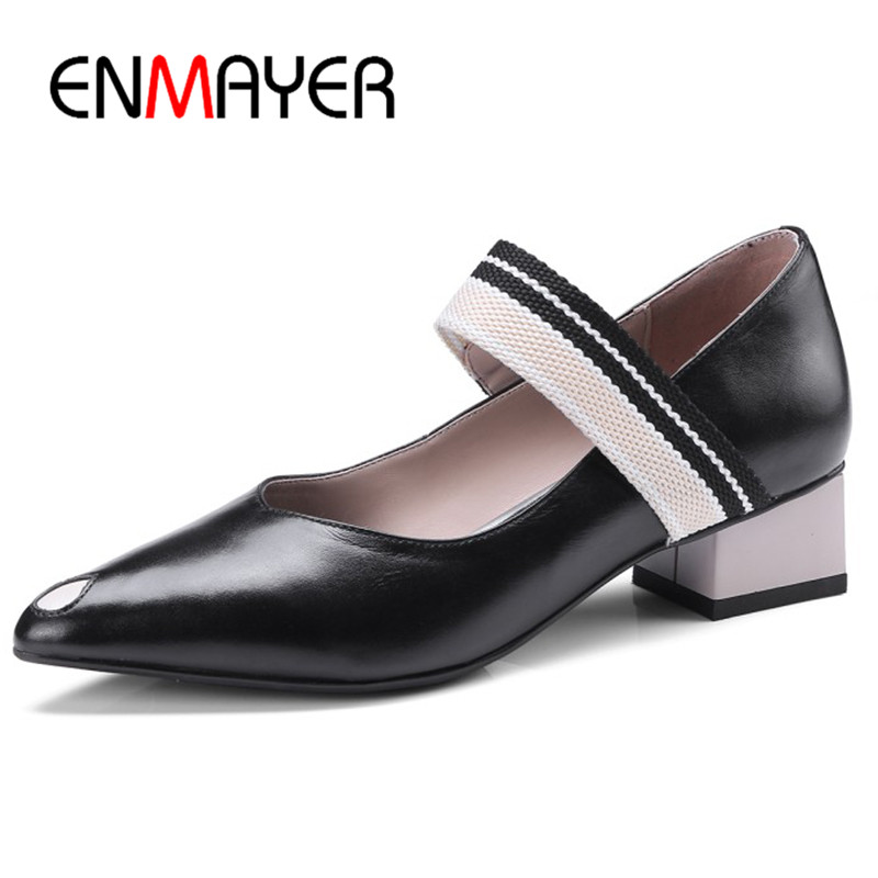 ENMAYER Mary Janes Pumps Shoes Woman Square Heels Genuine Leather Shoes Slip-on Shoes Party Wedding Pumps Shoe lovexss woman wedding mary janes black red genuine leather woman high heel shoes party patent leather pumps mary janes 2017