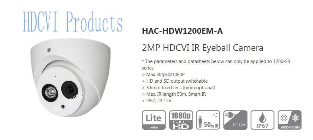 Free Shipping DAHUA CCTV 2MP 1080P HDCVI IR Eyeball Camera Smart IR IP67 Without Logo HAC-HDW1200EM-A free shipping original english dahua security camera cctv 2mp hdcvi ir eyeball digital video camera without logo hac hdw1220g