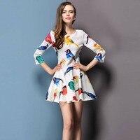 Free Shipping Ladies Fashion Spring O Neck One Piece Dress