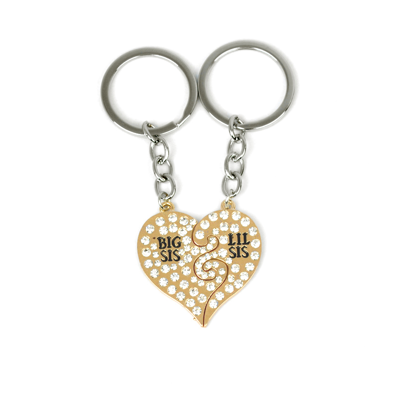 Christmas Gift Family Sisters Keychain For 2 Big Sis Little Sis Broken Heart Puzzle Key Holder For Bags Rhinestone Women Jewelry