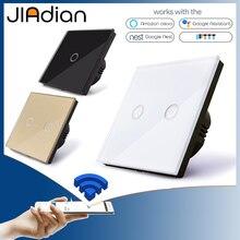 JIADIAN сенсорный выключатель дистанционный переключатель освещения Панель настенный прерыватель 1/2/3 Wi-Fi выключатель света ЕС Стандартный работать с Alexa Google