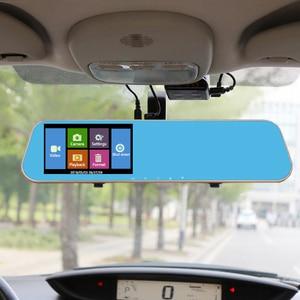 Image 5 - Jiluxing 4.3 جهاز تسجيل فيديو رقمي للسيارات نسخة ترقية 1080P شاشة تعمل باللمس كاميرا رؤية خلفية للسيارة مرآة عدسة مزدوجة مسجل فيديو داش كام